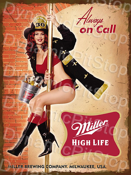 30x40cm Miller Beer On Call Rustic Decal or Tin Sign