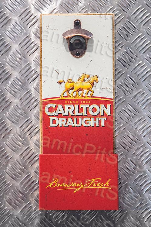 40cm x 15cm Carlton Draught Rustic Wall Bottle Opener & Catcher
