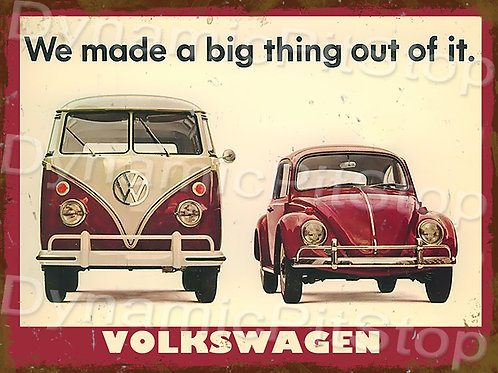 40x30cm Beetle and Kombi Rustic Decal or Tin Sign