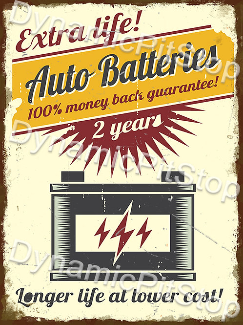 30x40cm Auto Batteries Rustic Decal or Tin Sign