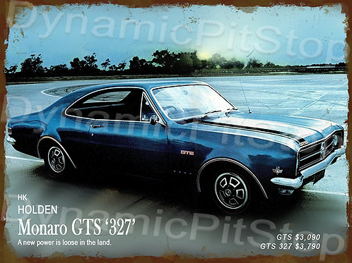 40x30cm Holden HK Monaro GTS 327 Rustic Decal or Tin Sign