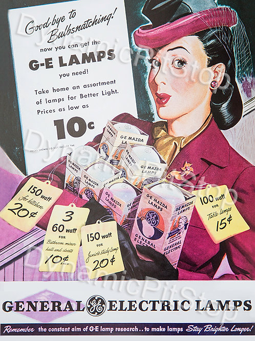 30x40cm GE Lamps Decal or Tin Sign