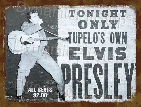 40x30cm Elvis Tupelo Rustic Decal or Tin Sign