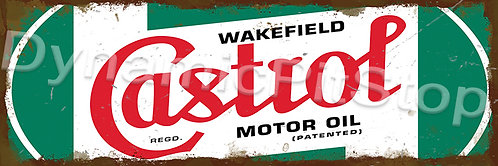 60x20cm Castrol Green Logo Rustic Decal or Tin Sign
