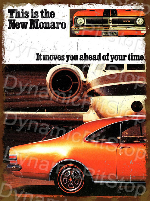 30x40cm Holden HT Monaro Ahead of Time Rustic Decal or Tin Sign