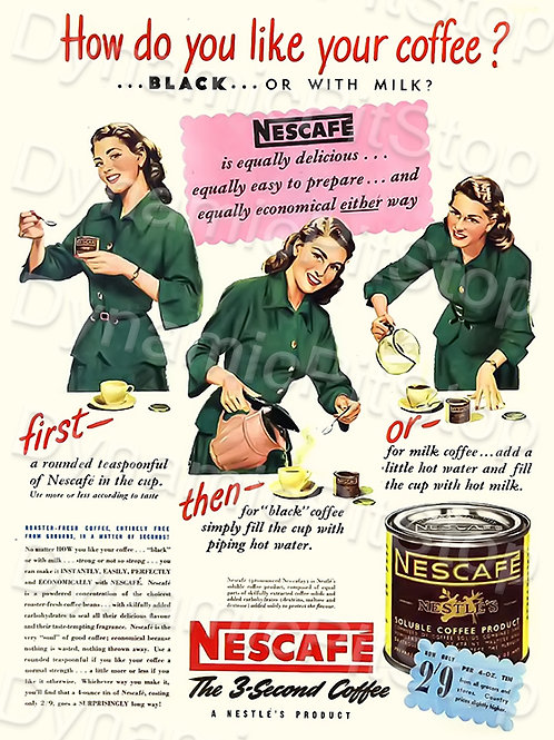 30x40cm Nescafe Coffee Decal or Tin Sign