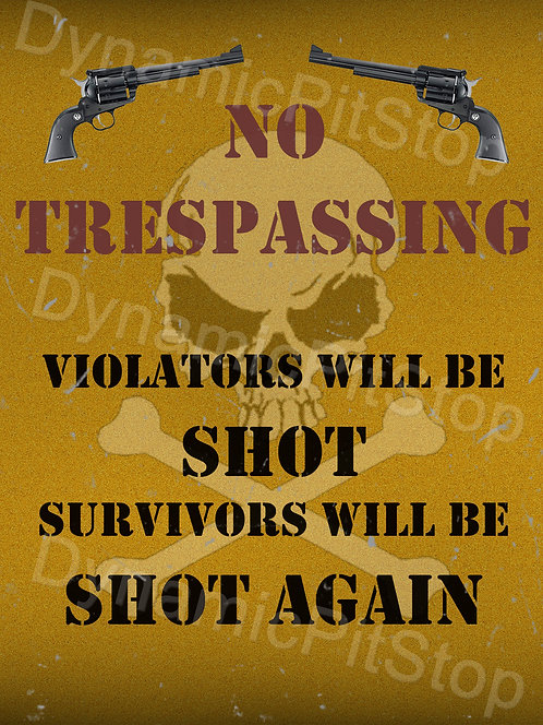 30x40cm No Trespassing Rustic Decal or Tin Sign