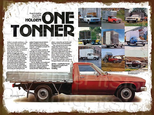 40x30cm Holden HZ One Tonner Rustic Decal or Tin Sign