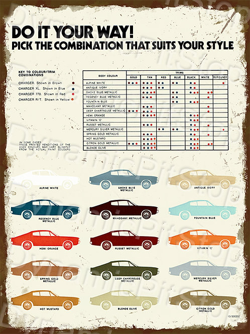 30x40cm Chrysler Charger Colour Chart Rustic Decal or Tin Sign