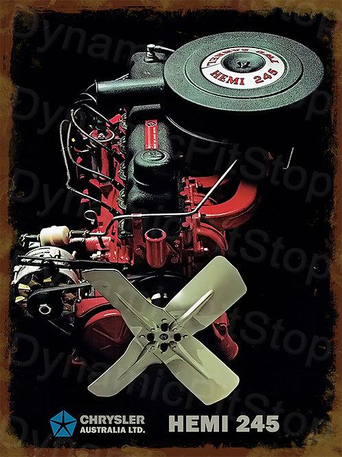 30x40cm Chrysler 1970 Hemi Six Motor Rustic Decal or Tin Sign
