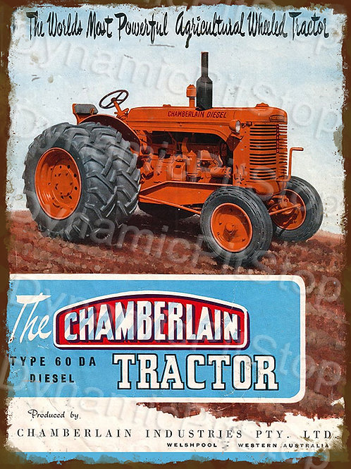 30x40cm Chamberlain 60DA Tractor Rustic Decal or Tin Sign