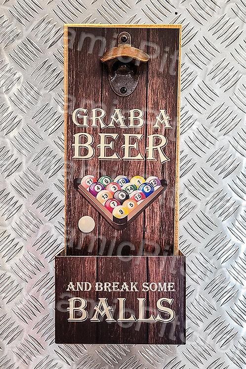 40cm x 15cm Games Pool Room Rustic Wall Bottle Opener & Catcher