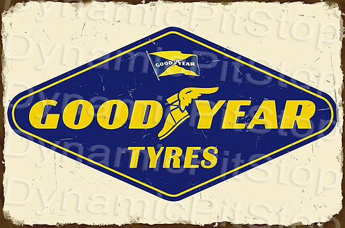 HUGE 120x80cm Good Year Tyres Rustic  Sign