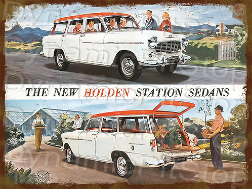 40x30cm Holden 1957 FE Station Rustic Decal or Tin Sign