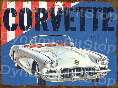 40x30cm Corvette 1958 Rustic Decal or Tin Sign