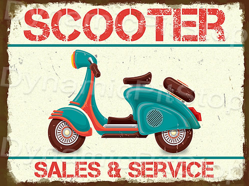 40x30cm Scooter Rustic Decal or Tin Sign