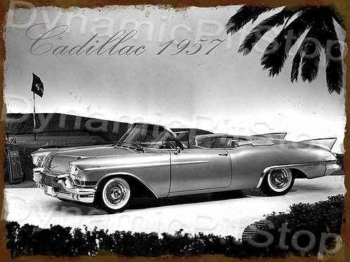 40x30cm Cadillac 1957 Rustic Decal or Tin Sign