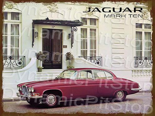 40x30cm Jaguar Mark Ten Rustic Decal or Tin Sign