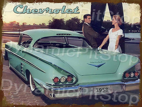 40x30cm Chevrolet 1958 Rustic Decal or Tin Sign