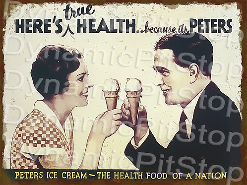 40x30cm Peters Ice Cream Rustic Decal or Tin Sign