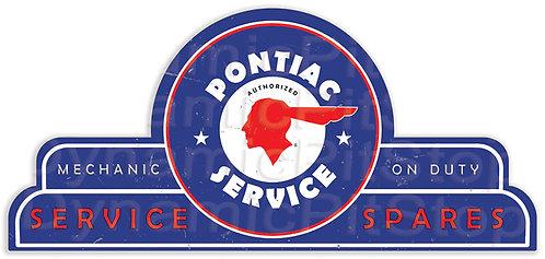65x30cm Pontiac Service Spares Shield Tin Sign