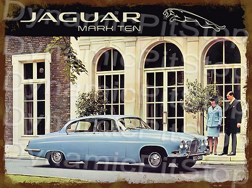 40x30cm Jaguar Mark Ten Rustic Decal or Tin Sign