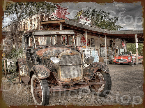 40x30cm Truck Fuel Station Rustic Decal or Tin Sign