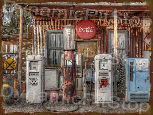 40x30cm Various Fuel Pumps Rustic Decal or Tin Sign