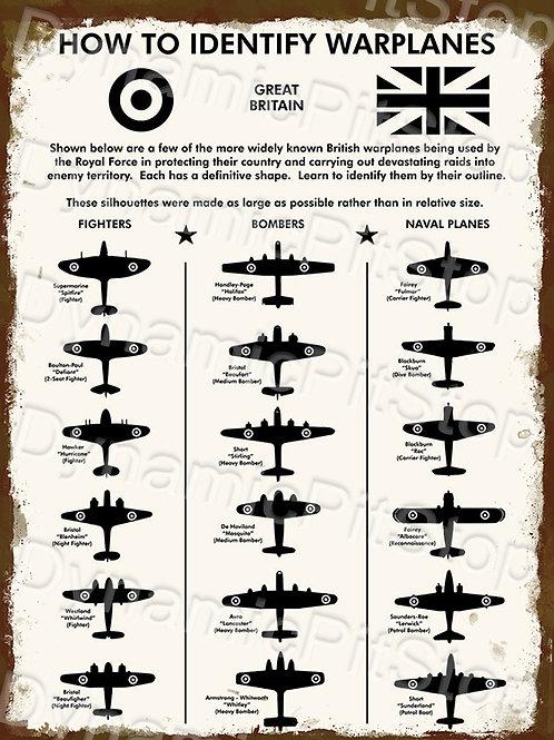 30x40cm Warplanes Military Rustic Decal or Tin Sign