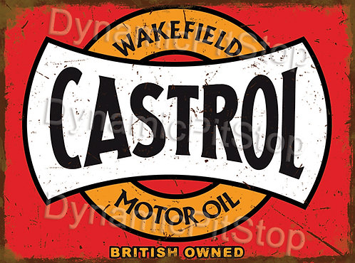40x30cm Castrol Motor Oil Rustic Decal or Tin Sign