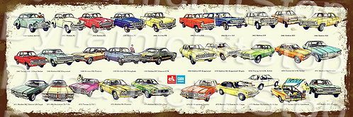 60x20cm General Motors Holden 1976 Rustic Decal or Tin Sign