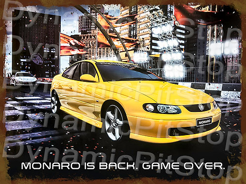 40x30cm Monaro Game Over Rustic Decal or Tin Sign