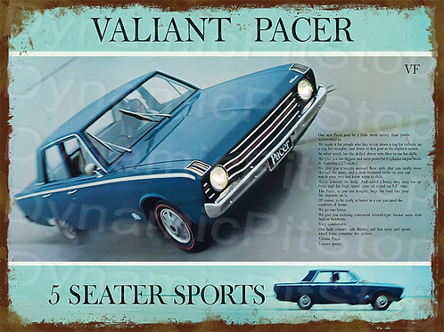 40x30cm Valiant VF Pacer Rustic Decal or Tin Sign