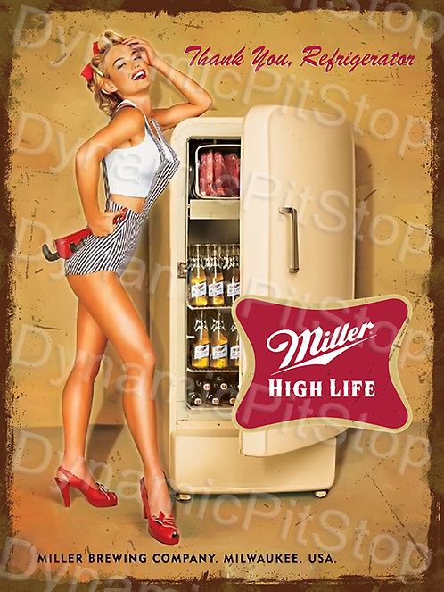 30x40cm Miller Beer Fridge Rustic Decal or Tin Sign