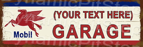 60x20cm Mobil Garage Personalised / Custom Decal or Tin Sign