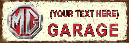 60x20cm MG Garage Personalised / Custom Decal or Tin Sign