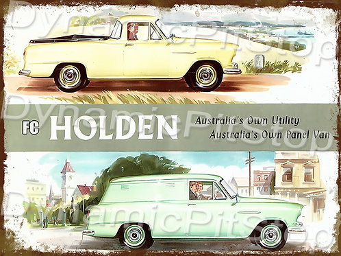 40x30cm Holden FC Ute & Van Rustic Decal or Tin Sign