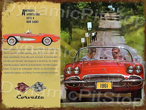 40x30cm Corvette 1961 Rustic Decal or Tin Sign