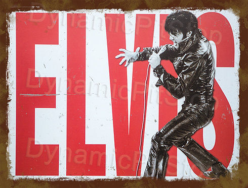40x30cm Elvis Rustic Decal or Tin Sign