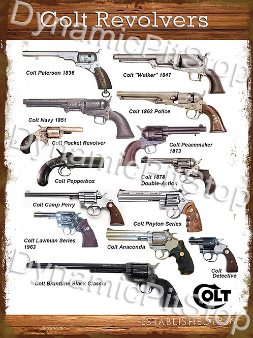 30x40cm Colt Revolvers Rustic Decal or Tin Sign