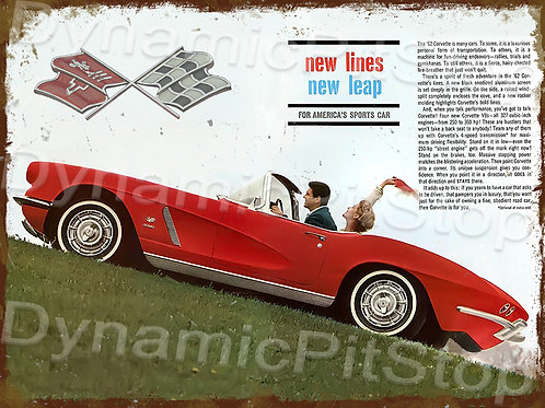 40x30cm Corvette 1962 Rustic Decal or Tin Sign