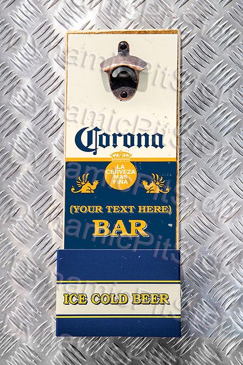 40cm x 15cm Personalised Corona Rustic Wall Bottle Opener & Catcher