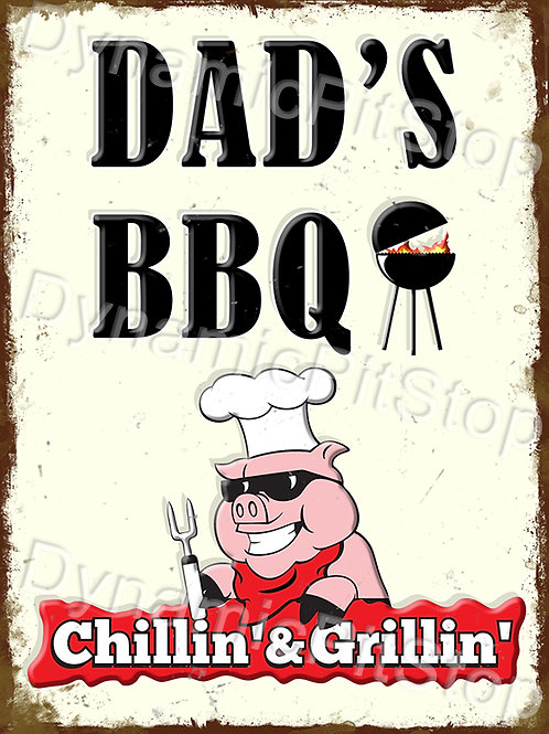 30x40cm Dad's BBQ Rustic Decal or Tin Sign