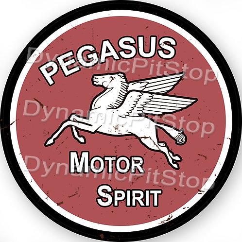 60cm Mobil Pegasus Logo Round Tin Sign