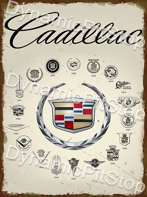 30x40cm Cadillac Badge Years Rustic Decal or Tin Sign