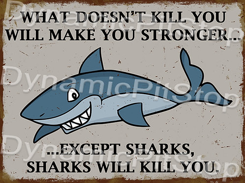 40x30cm Sharks Kills Rustic Decal or Tin Sign