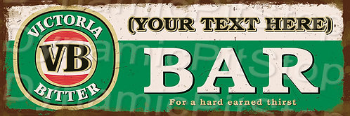60x20cm Victoria Bitter VB Bar Personalised / Custom Decal or Tin Sign