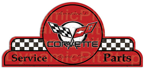 65x30cm Corvette Service Parts Shield Tin Sign