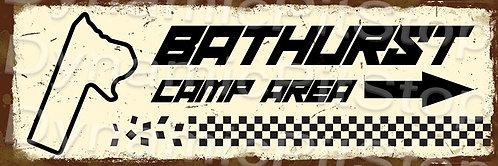 60x20cm Bathurst Camp Area Rustic Decal or Tin Sign