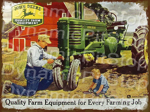 40x30cm John Deere Equipment Rustic Decal or Tin Sign